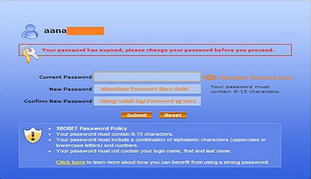 Cara Mengganti Password Account Sbobet