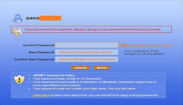 Cara Mengganti Password Account Sbobet